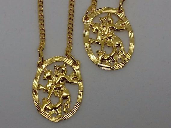Escapulario Banhado A Ouro18k São Jorge Vazado 60cm
