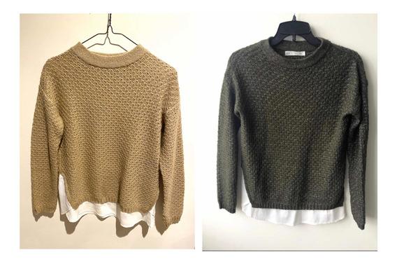 Sweaters Sfera Verde Y Beige Usados