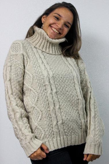 Sweater Mujer Polera Lana Premiun Invierno Detalle Trenzas