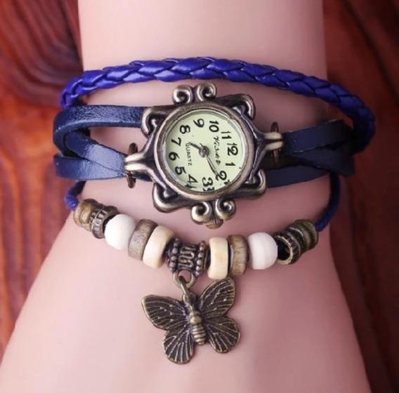 Relógio De Pulso Retro Vintage Azul - Envio Imediato