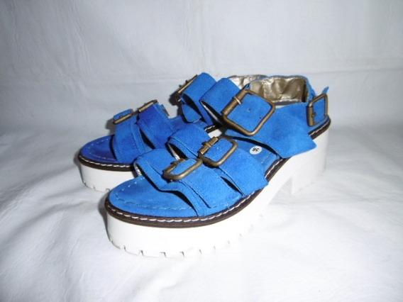 Sandalia Gamuza Azul 36/37 Fajas Ajustables Savage 1 Uso