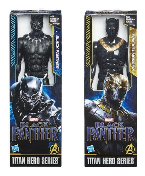 2 Bonecos Avengers 30cm Pantera Negra E Killmonger - Hasbro