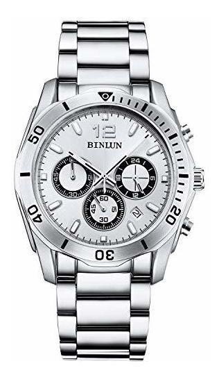 Binlun - Reloj De Pulsera Para Hombre, Chapado En Oro De 18