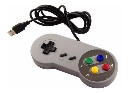 Controle Usb - Estilo - Super Nintendo / Para Computado.