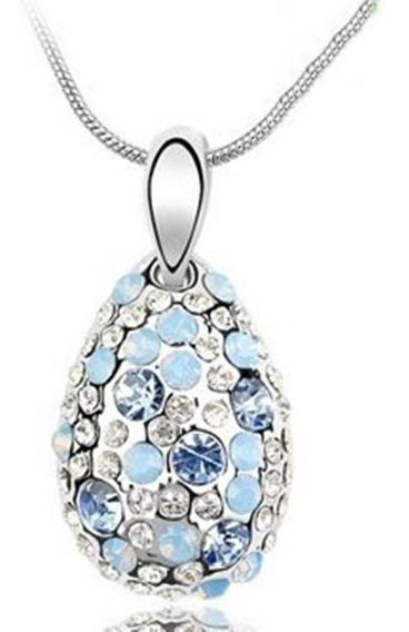 Colar Pingente De Gota Com Cristal Swarovski Azul