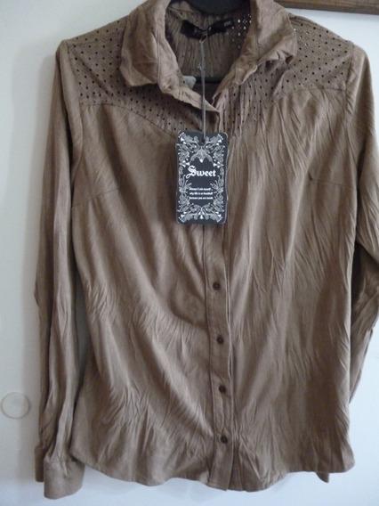 Camisa Camel Gamuzada Sweet