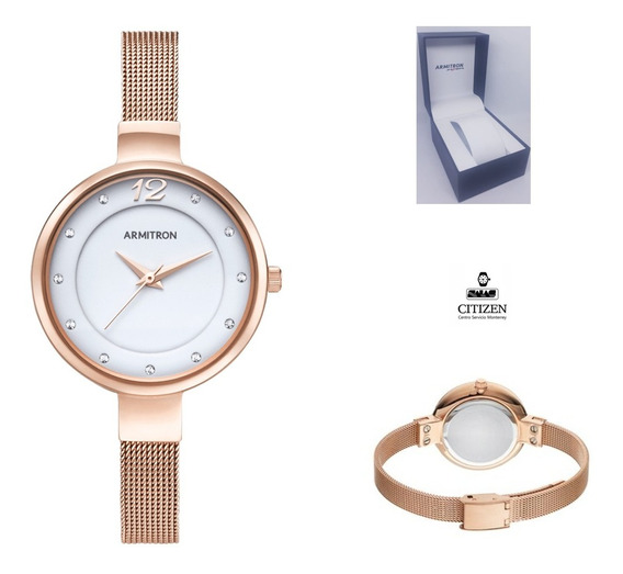 Reloj Armitron 75/5465wtrg Mujer Pulcera Rose Gold Full