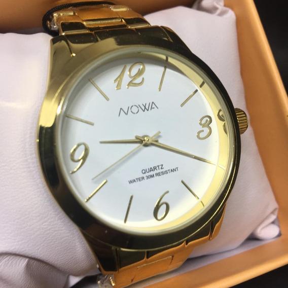 Relógio Nowa Dourado Feminino Original Nw1025k + Kit Brinde