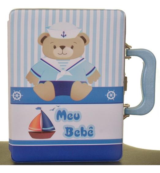 Estojo Álbum Do Bebê 15x21 120 Fotos Urso Marinheiro