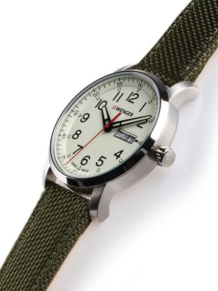 Relógio De Pulso Suíço Wenger Atitude Pulseira Nylon Verde
