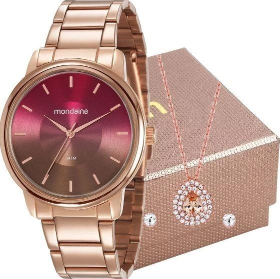 Relógio Feminino Mondaine Rose + Colar E Brincos