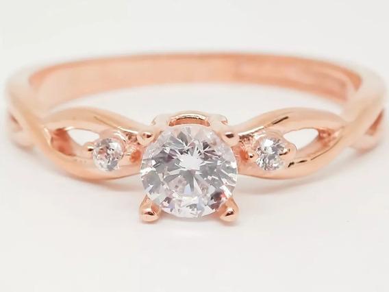 Anel Em Ouro Rosé 18k E Diamantes Extravasarjoias