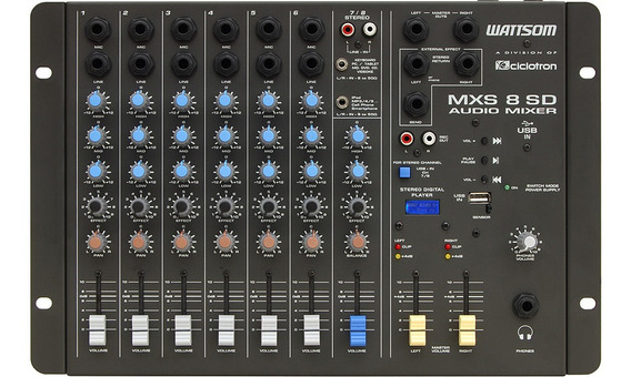 Mesa De Som Ciclotron Mxs 8 Sd Stereo Usb E Controle Remoto