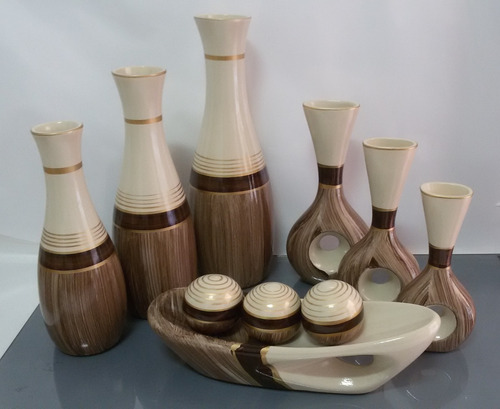 Imagem 1 de 4 de Conjunto Cerâmica Jogo Trio Vasos Redondo & Furo + Barca