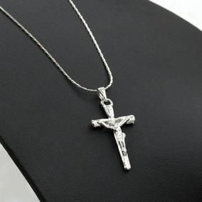 Cordão Corrente Colar Pingente Crucifixo Jesus Banhado Prata