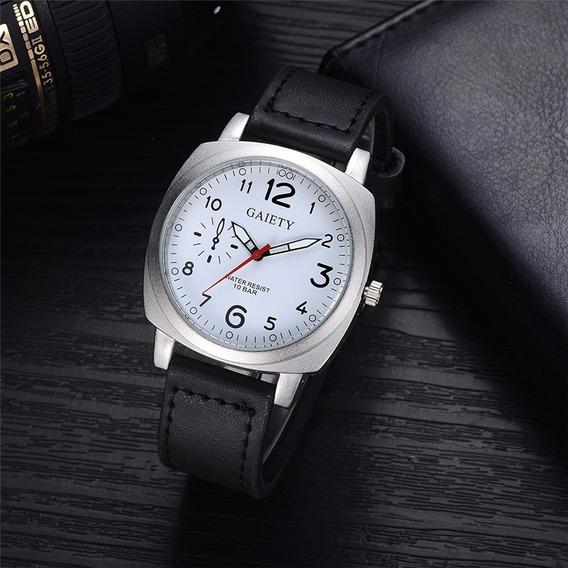 Relógio Gaiety Aço Inox De Couro + Frete Grátis + Promoção.