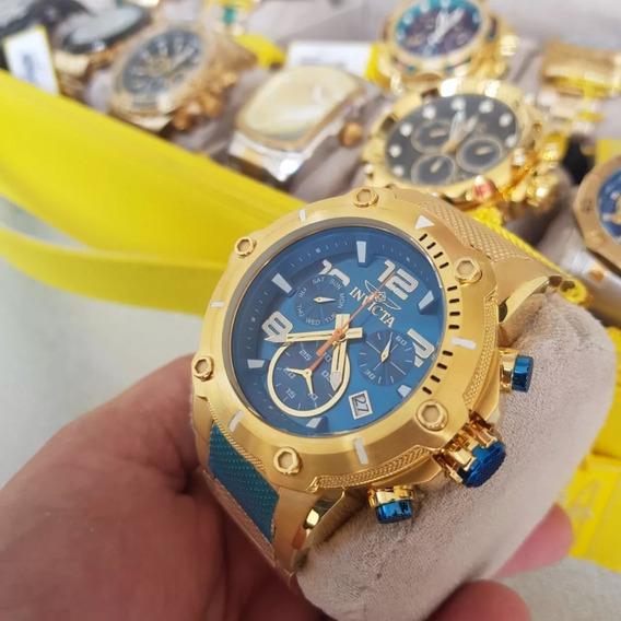 Relógio Invicta Speedway 19532 Dourado Ouro 18 K Azul Origin