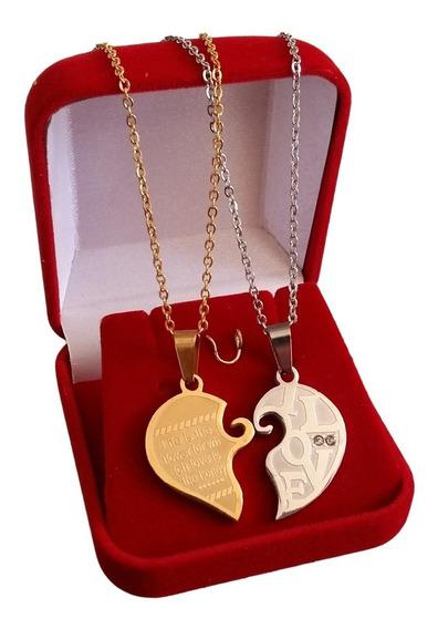 Colar Coração Duas Partes Casal De Namorados Love Folheado