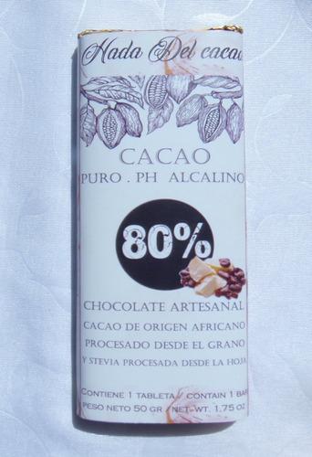 Imagen 1 de 10 de Tableta De Chocolate 80% Cacao Sin Azucar Stevia Keto Vegano