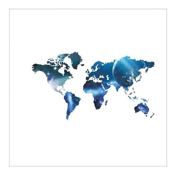Adesivo De Parede Decorativo Mapa Do Mundo Mapa Mundi Azul