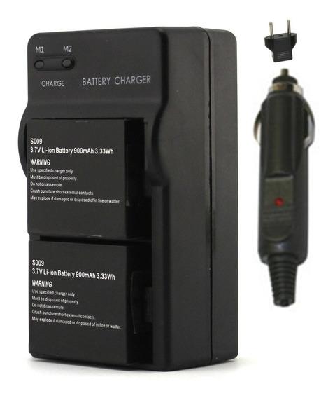 2 Baterias 900 + 1 Carreg Veicular Parede P Cam H8 H9 Sj
