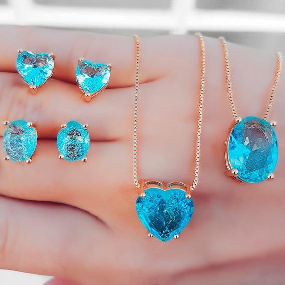Gargantilha Colar Corrente Pedras Fusion Azul Valor1 Conjunt