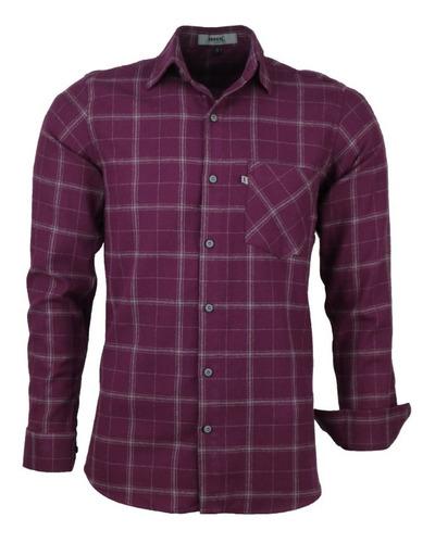 Camisa Masculina Amil Garnet Longa Xadrez Flanela C Bolso