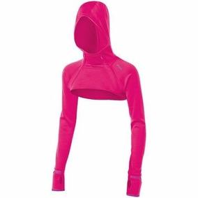 Blusa Bolero Rosa Pink Capuz Tam P Asics Excelente