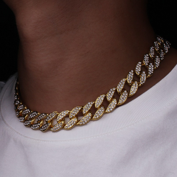 Colar 40cm Corrente 15mm Cravejada Ouro Hip Hop Lxbr Bl56