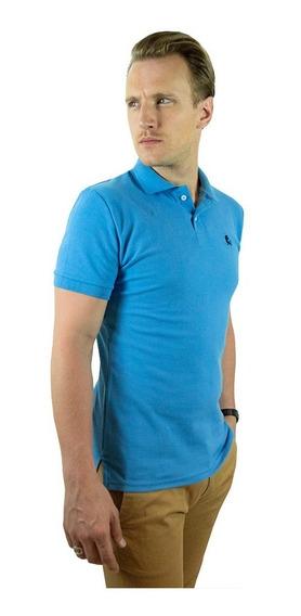 Playera Polo Valdov Caballero Slim Fit Azul Cielo / A Marino