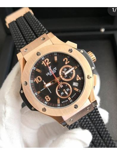 Relógio Masculino Hublo Rose Premium Pulseira Preta