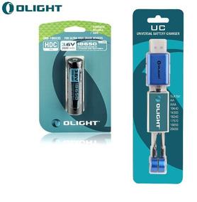 Bateria Olight 18650 3500mah Alta Drenagem + Carregador Uc