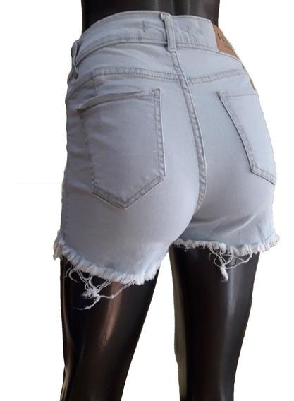 Short Jeans Denim Elastizado Tiro Alto Celeste Talle 40