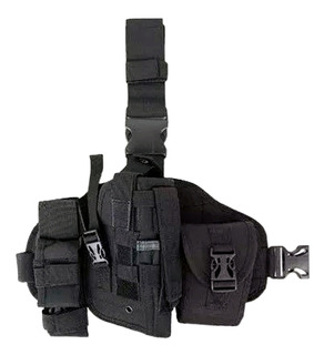 Pistolera Muslera Táctica Universal Porta Cargador Negro