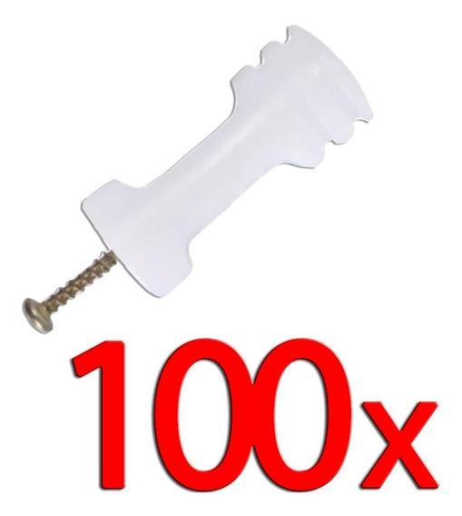 Kit Com 100 Isolador Para Haste Cerca Elétrica Com Parafuso