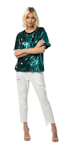 Camiseta Paetê Careca Manga Curta Regular Colcci 34073