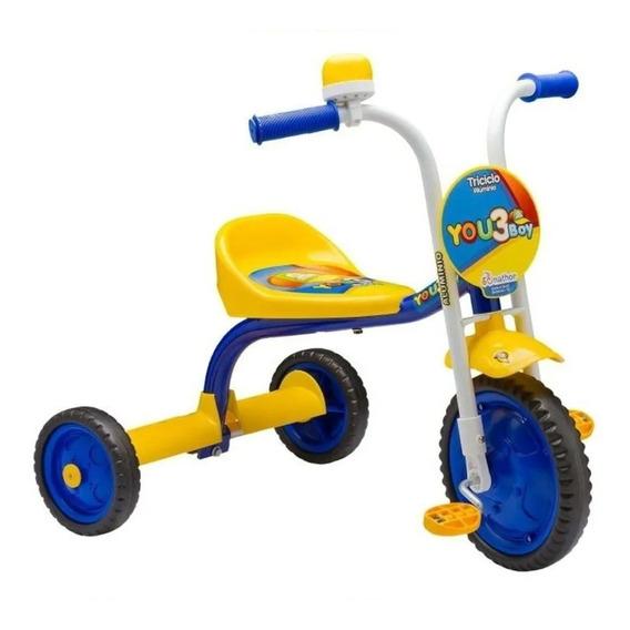 Triciclo Infantil Nathor You 3 Boy Aluminio Amarelo Azul