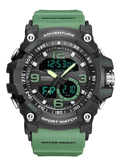 Relógio Masculino Weide Anadigi - Verde E Preto Original