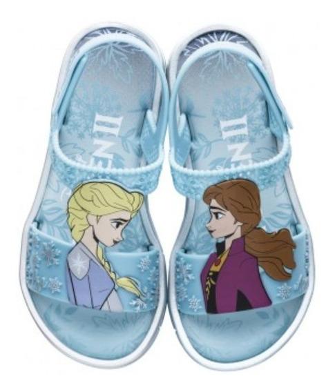 Sandalia Infantil Frozen Grendene Prata Azul