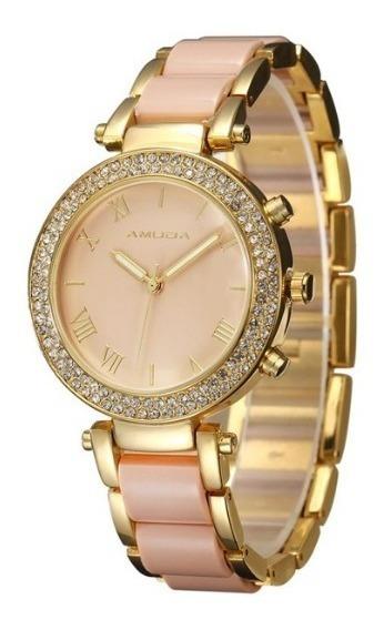 Relógio De Pulso Feminino Fashion Luxo Dourado Amuda 2044