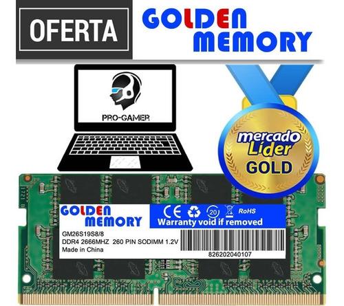 Imagen 1 de 2 de Memoria Ram Ddr4 8gb Pc4-2666mhz Golden Laptop Inc Iva