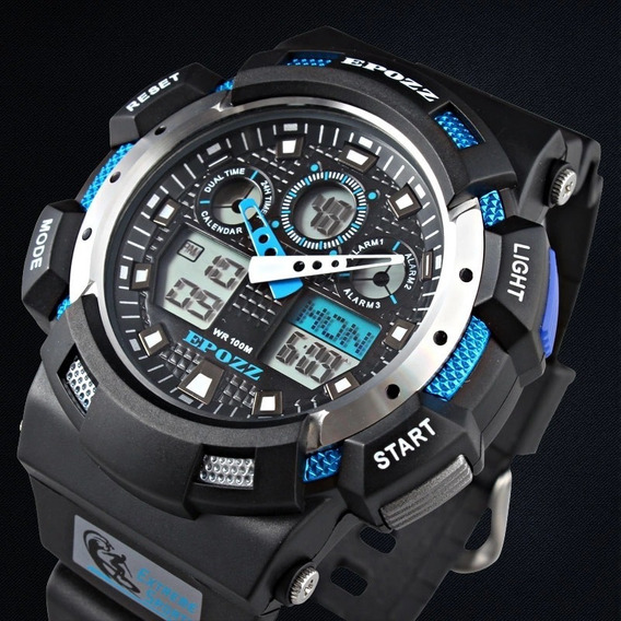 Reloj Hombre Tipo Casio G Shock 3 Alarmas Led 100mt Epozz