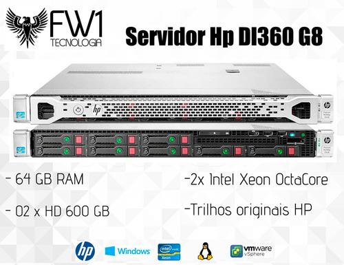 Imagem 1 de 6 de Servidor Hp Dl360 G8/ 64gb Ram/ 2x Octacore/ 1.2 Tb Em Disco