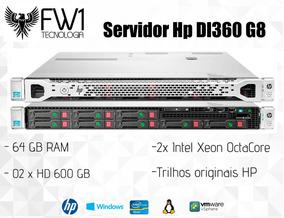 Servidor Hp Dl360 G8/ 64gb Ram/ 2x Octacore/ 1.2 Tb Em Disco