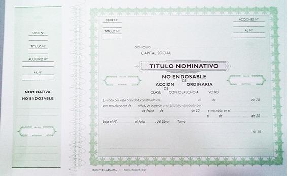 Ad Astra Titulo Accion Nominativa 7712s Acciones Nominativas