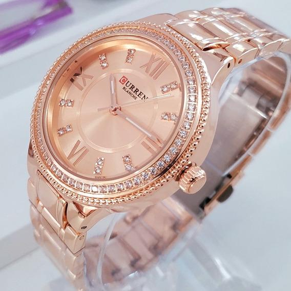 Relógio Feminino Curren 9004 Pedras Brilhantes Luxo C/ Caixa