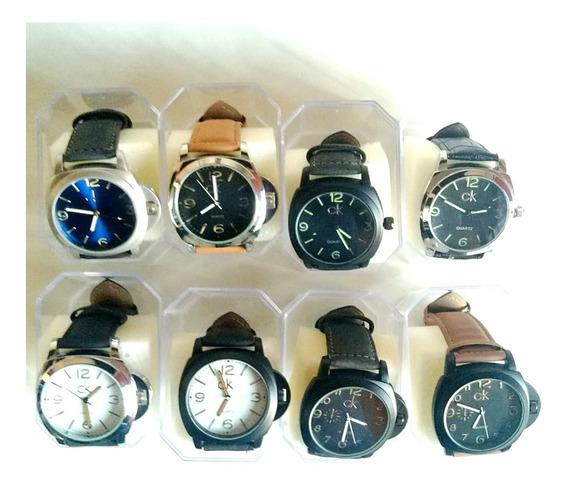 Kit Com 5 Relógios Masculinos Em Pulseira Em Couro Revenda