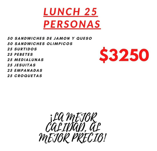 Lunch 25 Persona Ideal Para Vos $3250