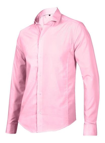 Camisa Hombre Entallada Lisa Cuello Italiano Vcolores! Local