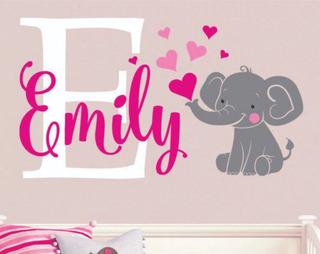Adesivo De Parede Decoração Infantil Meninas Elefante + Nome